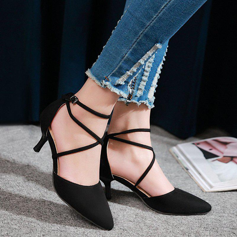 Pointed Toe Cross Straps Pumps - BLACK 39