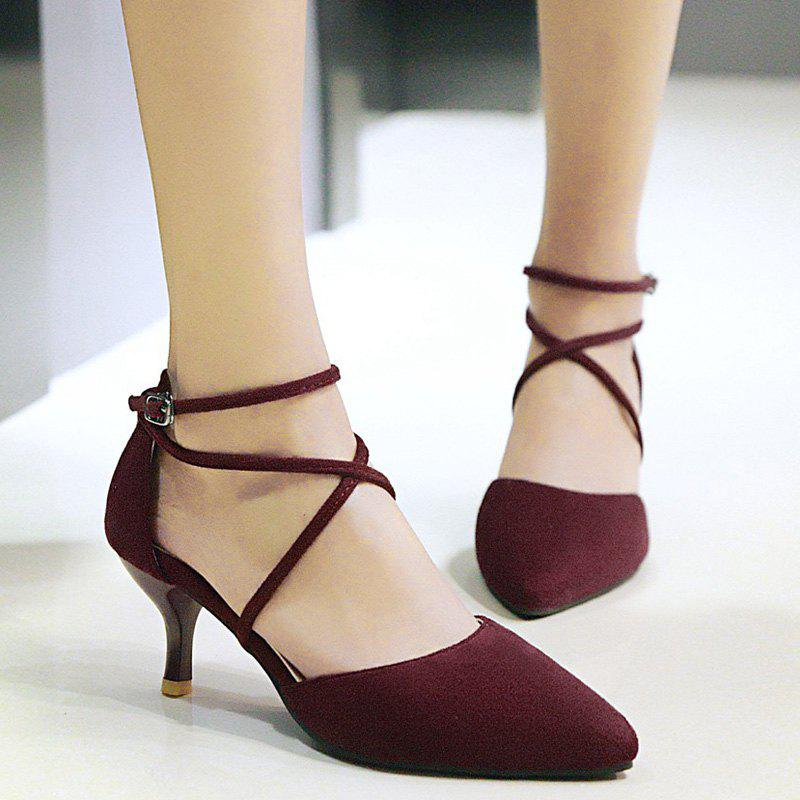 Pointed Toe Cross Straps Pumps - WINE RED 39