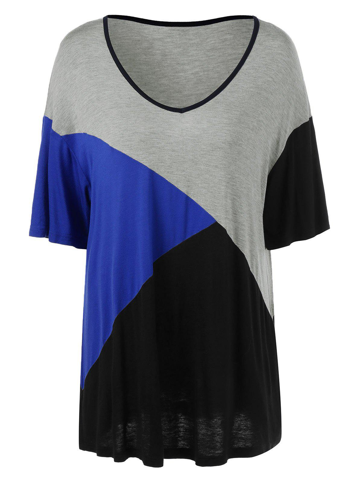 Plus Size Color Block T-shirt palangre Ringer - multicolorcolore XL