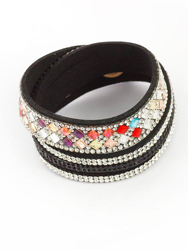 Rhinestoned Faux Leather Bracelet rhinestoned faux leather bracelet