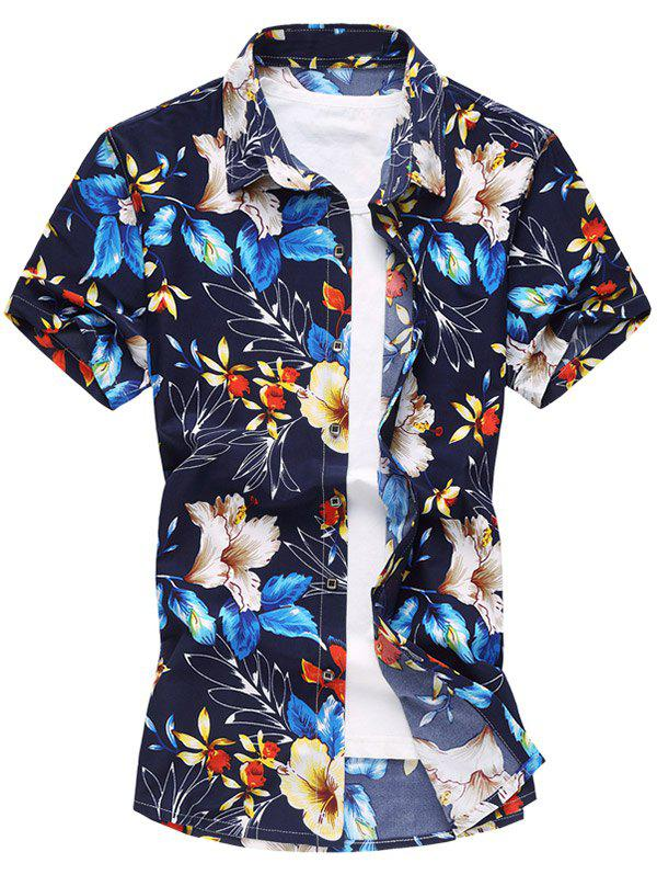 Colorful Flowers Print Short Sleeve Shirt - BLUE 2XL