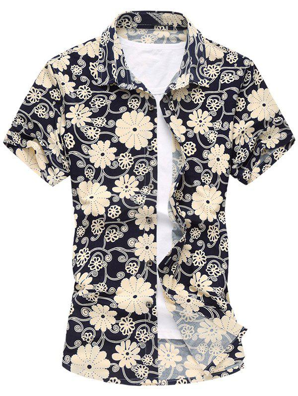 Short Sleeved Floral Shirt - KHAKI 2XL