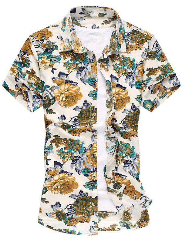 Colorful Flowers Short Sleeve Shirt - GREEN XL