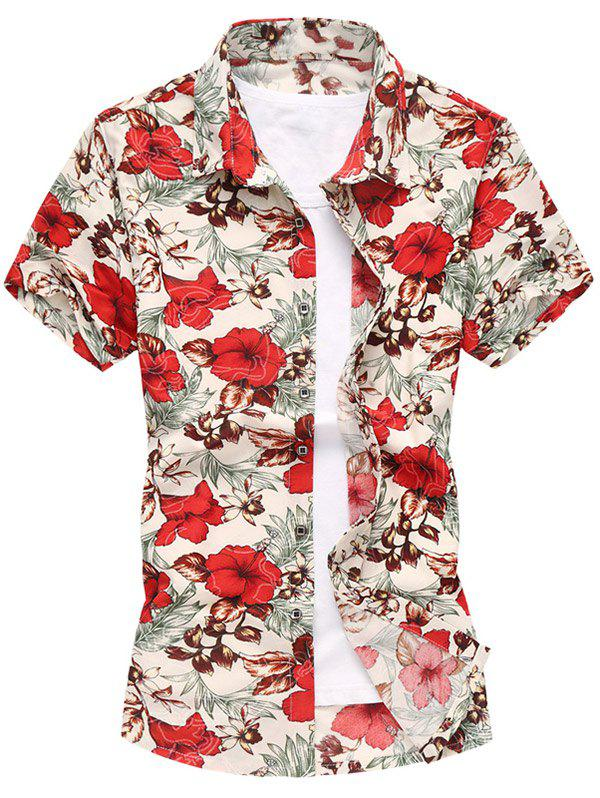 Short Sleeve Button Up Floral Shirt - RED XL