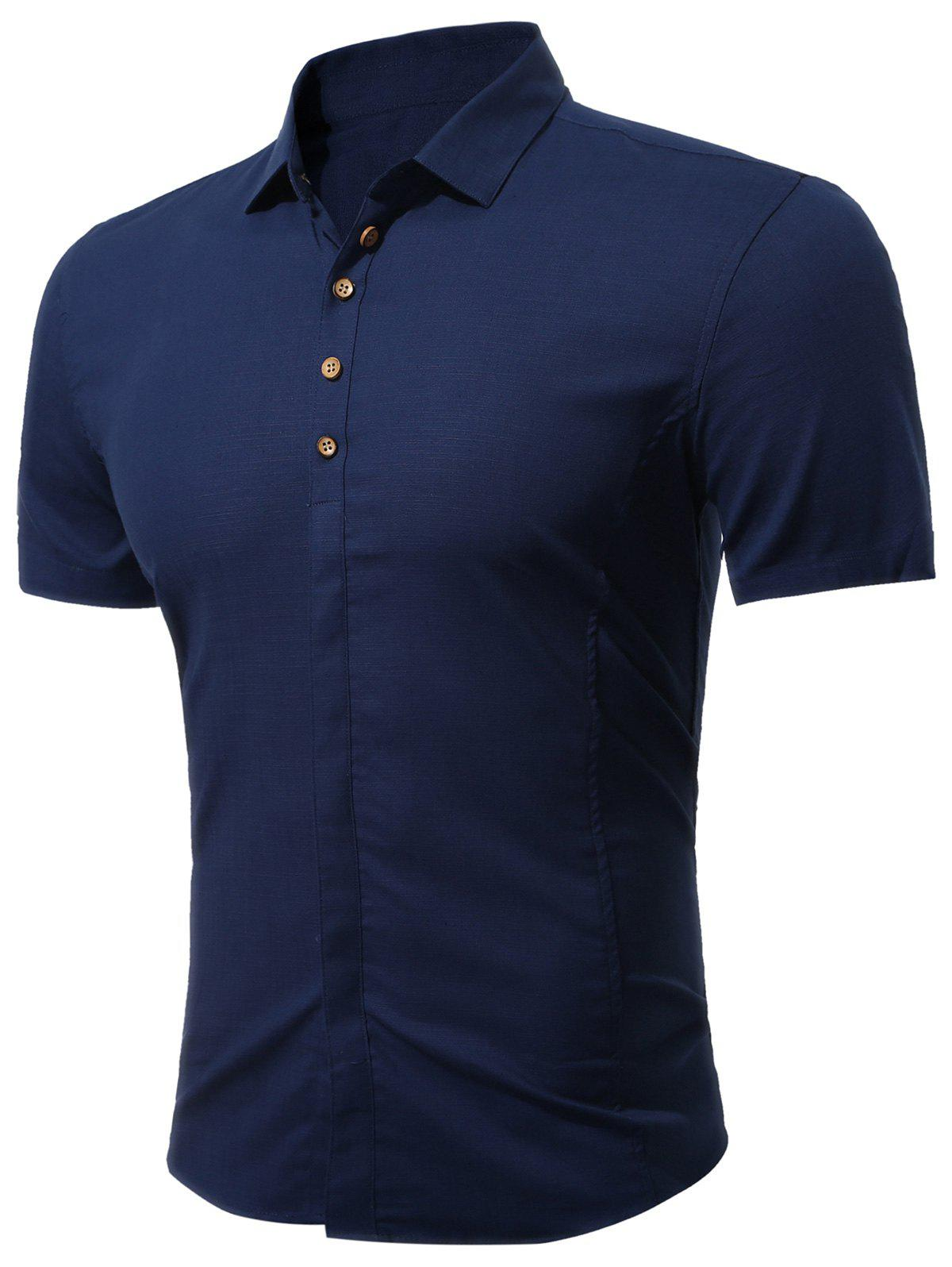 Short Sleeve Multi Botton Up Shirt - DEEP BLUE L