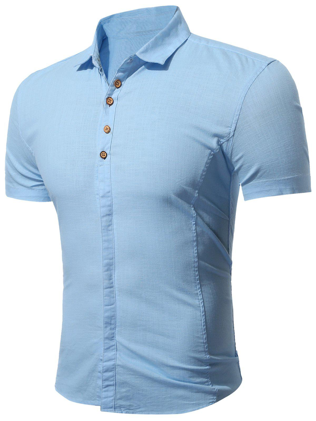 Short Sleeve Multi Botton Up Shirt - LIGHT BLUE 3XL