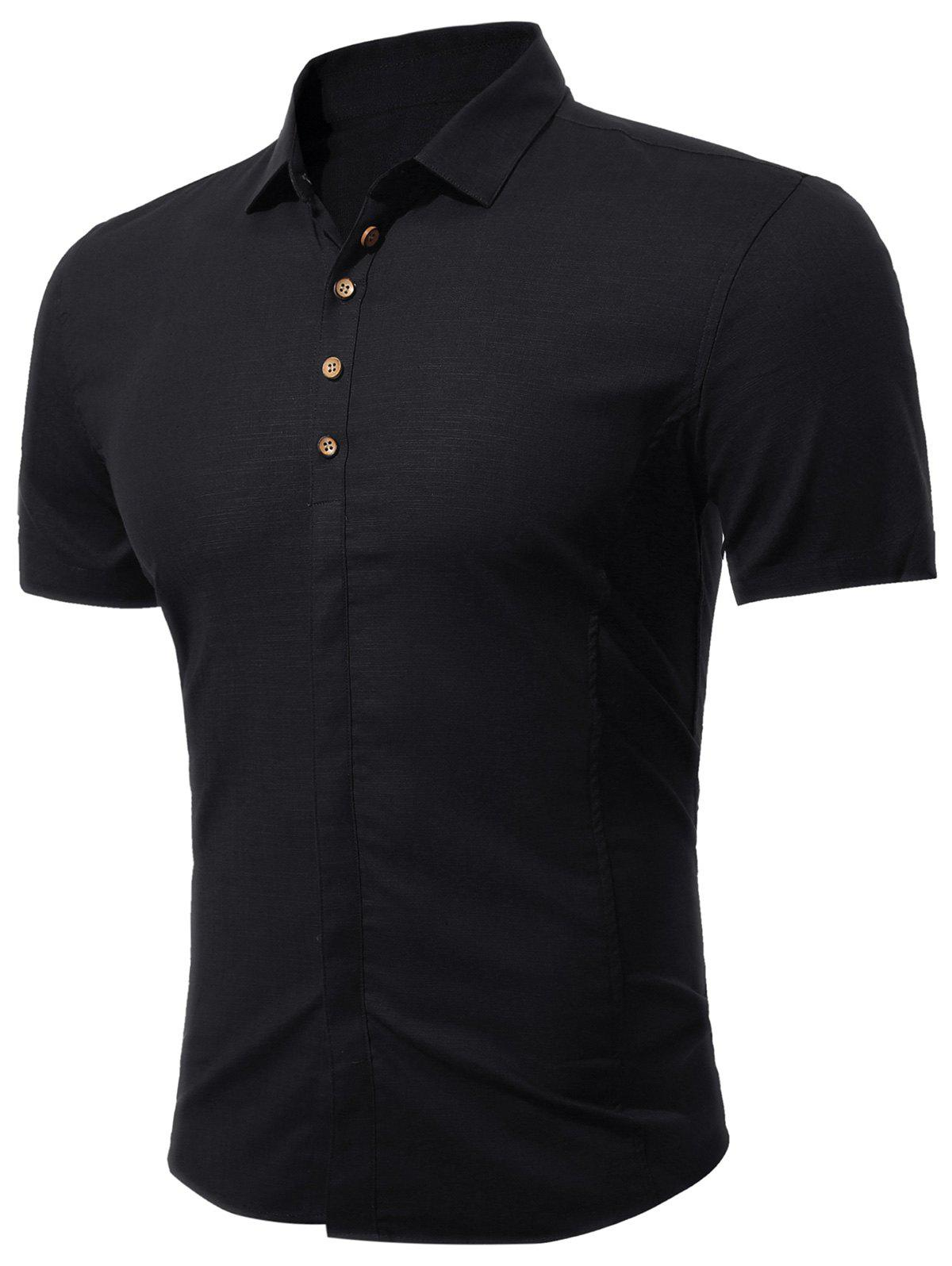 Short Sleeve Multi Botton Up Shirt - BLACK M