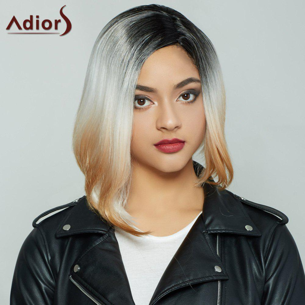 Fashion Medium Short Side Parting Straight Mixed Color Synthetic Hair Wig For Women - COLORMIX