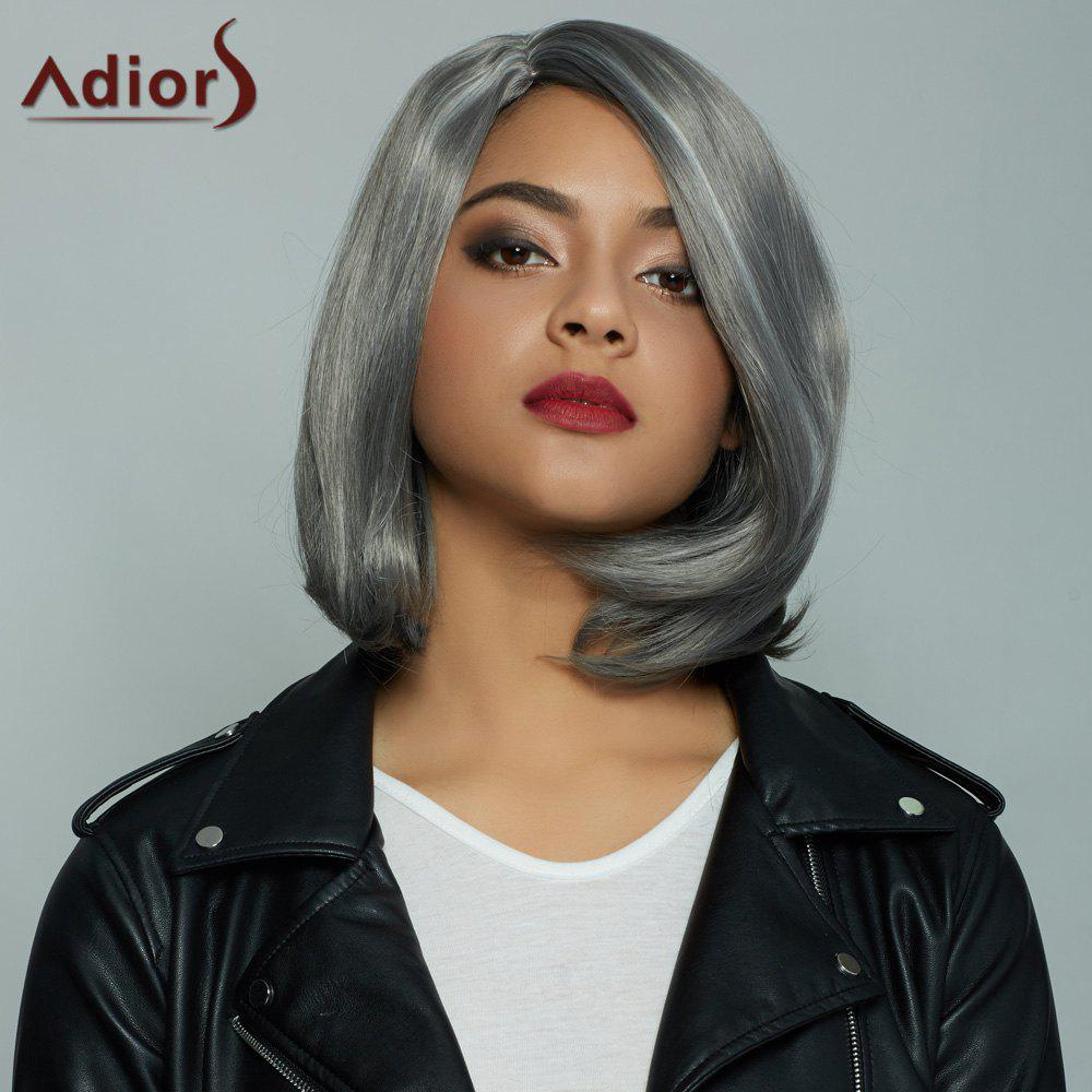 Fashion Short Straight Mixed Color Side Parting Synthetic Hair Wig For Women - COLORMIX