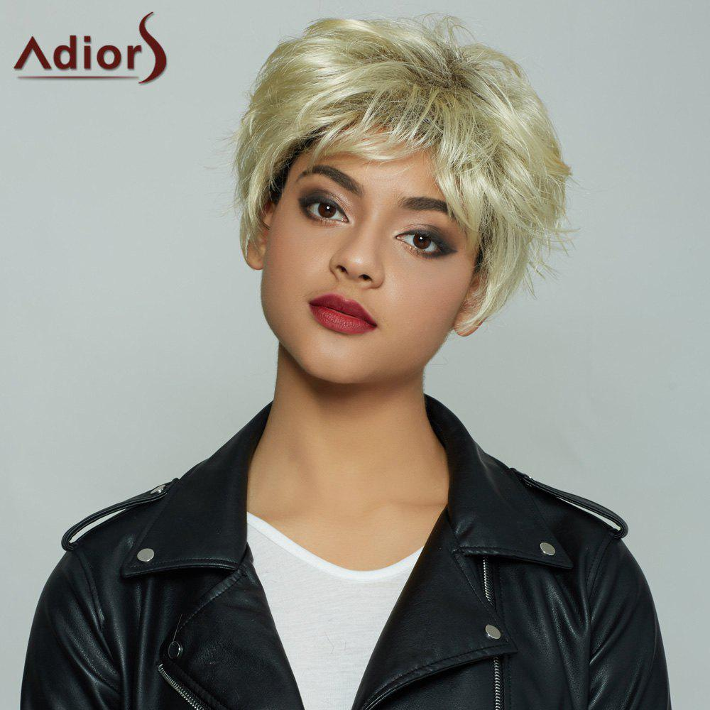 Graceful Off-White Mixed Synthetic Fluffy Short Layered Cut Straight Women's Capless Wig - COLORMIX