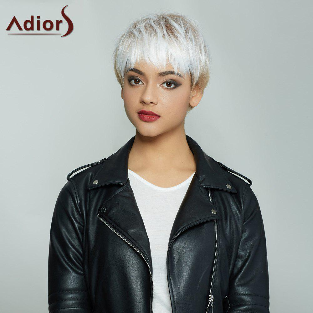 Nobby Mixed Color Capless Spiffy Straight Ultrashort Synthetic Adiors Wig For Women - COLORMIX