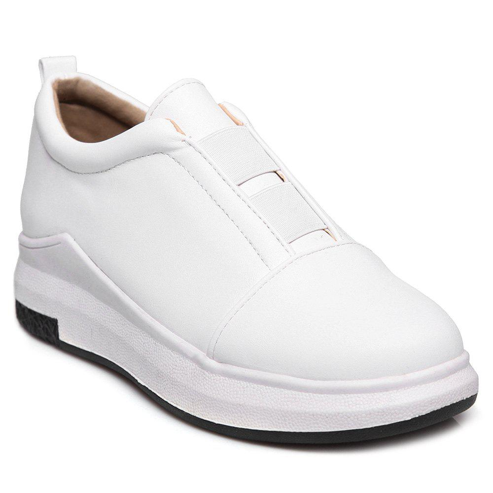 Faux Leather Elastic Platform Shoes - WHITE 37