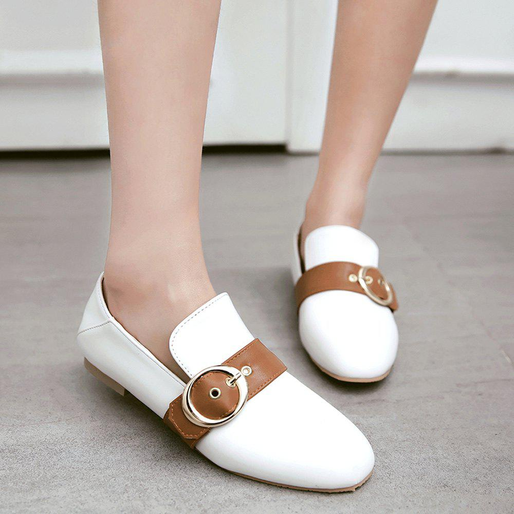 Belt Buckle Faux Leather Flat Shoes - WHITE 38