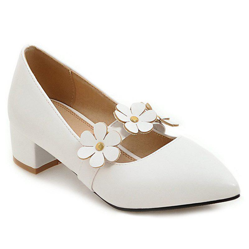 Block Heel Flowers Pumps - WHITE 37