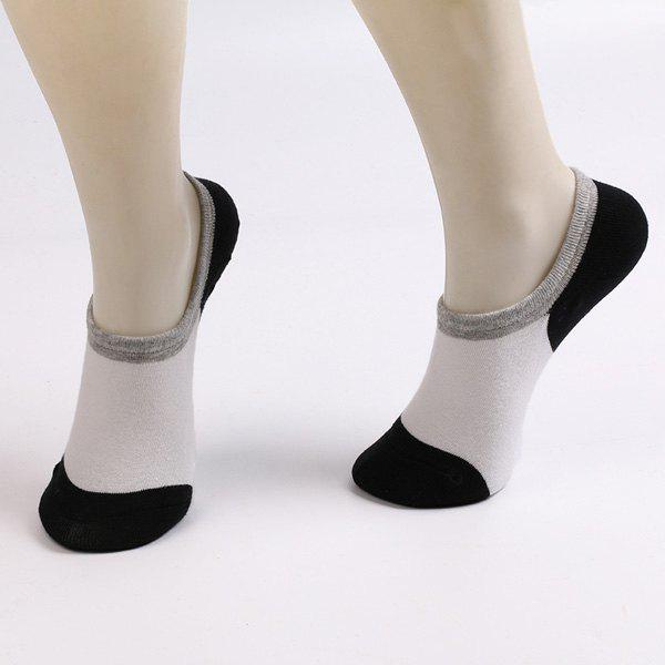 Fitted Skidproof Loafer Socks - WHITE/BLACK