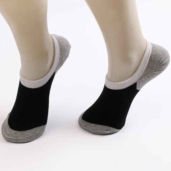 Fitted Skidproof Loafer Socks - BLACK/GREY