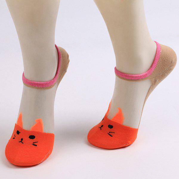 Sheer Mesh Insert Knitted Cat Socks - JACINTH