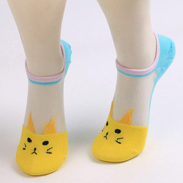 Sheer Mesh Insert Knitted Cat Socks - YELLOW