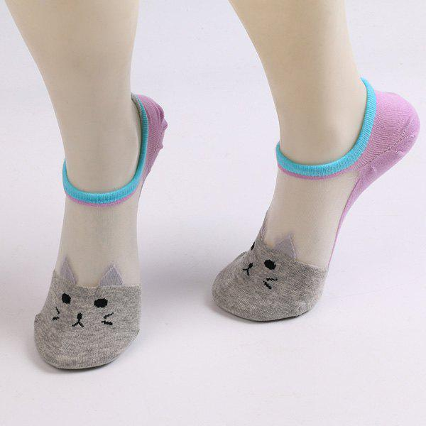 Sheer Mesh Insert Knitted Cat Socks - LIGHT GRAY