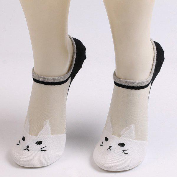 Sheer Mesh Insert Knitted Cat Socks - WHITE