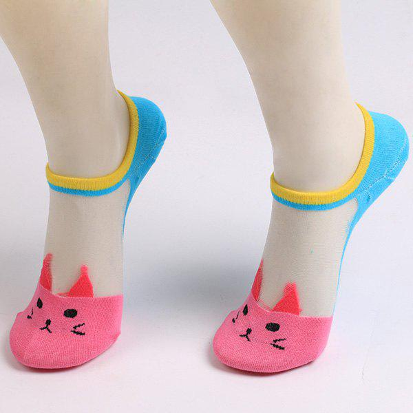 Sheer Mesh Insert Knitted Cat Socks - TUTTI FRUTTI