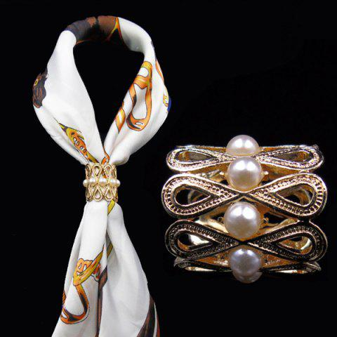 Vintage Artificial Pearl Infinite Brooch - GOLDEN