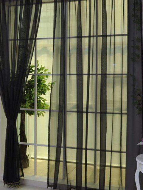 2 Pieces Sheer Tulle Fabric Window Curtains - BLACK 100*200CM (2PCS/SET)