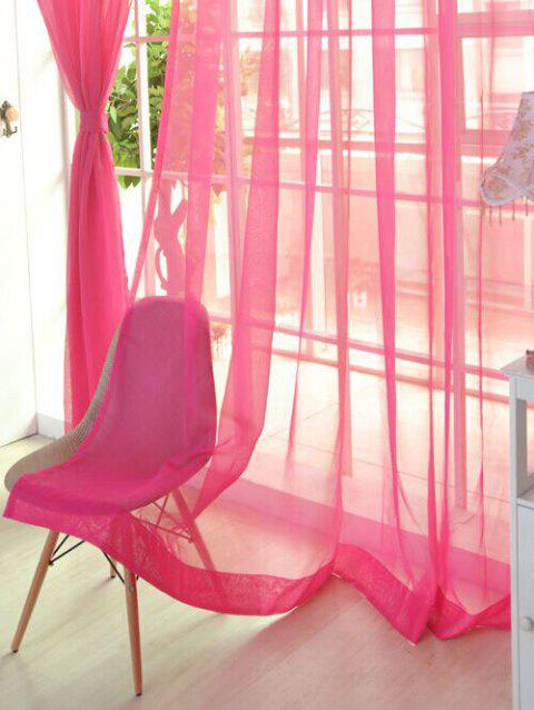 Window Decor Sheer Tulle Curtain For Living Room - WATERMELON RED 100*200CM