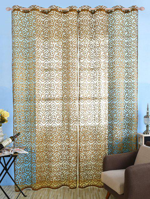 1Pcs Jacquard Fabric Sheer Voile Curtain - BROWN 100*250CM