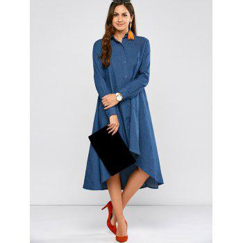 High Low Casual Denim Shirt Dress