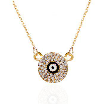 Round Eye Rhinestone Pendant Necklace