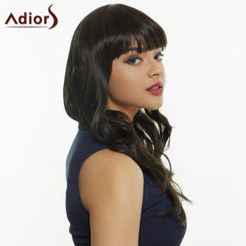 Women's Stylish Full Bang Synthetic Curly Wig - BLACK