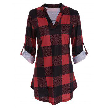 Plaid Split-Neck Tee