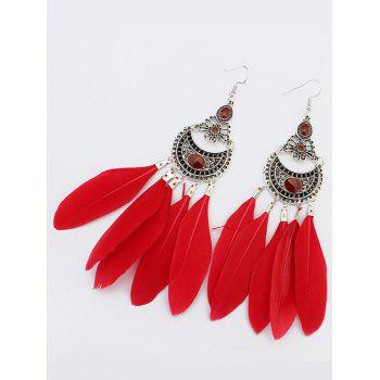 Crescent Feather Drop Earrings
