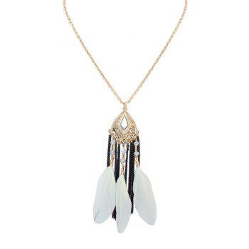 Feather Fringed Dream Catcher Bead Necklace