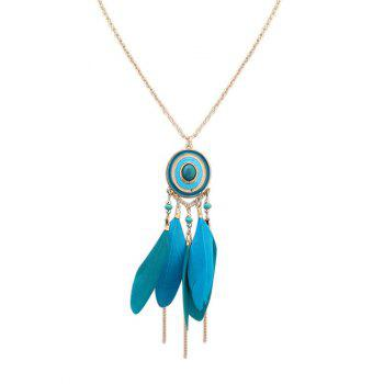 Boho Feather Embellished Round Fringed Bead Necklace