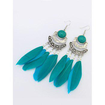 Bohemian Feather Fake Gem Hook Earrings