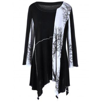 Plus Size Branch Print Asymmetrical Tunic T-Shirt