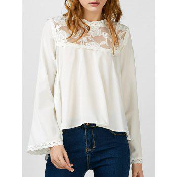 Asymmetrical Embroidered Lace Insert Blouse