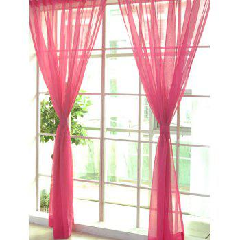 Window Decor Sheer Tulle Curtain For Living Room - WATERMELON RED WATERMELON RED
