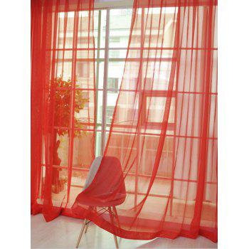 2 Pieces Sheer Tulle Fabric Window Curtains - BRIGHT RED 100*200CM (2PCS/SET)