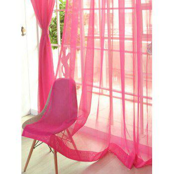2 Pieces Sheer Tulle Fabric Window Curtains - WATERMELON RED 100*200CM (2PCS/SET)