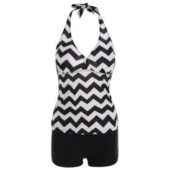 Zigzag Halter Tankini with Padded Cups