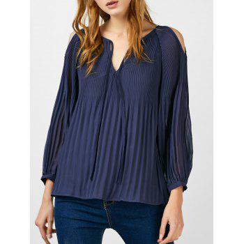 Accordion Pleated Cold Shoulder Blouse