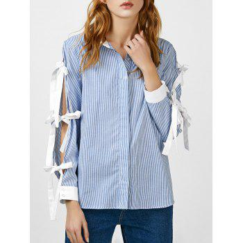 Self Tie Striped Vented Blouse