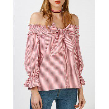 Striped Self Tie Off The Shoulder Blouse