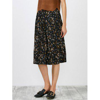 Tiny Floral Print Pleated High Waisted Skirt