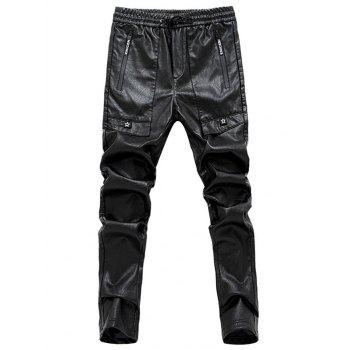 Narrow Feet Star Appliques PU Leather Pants