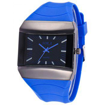 Silicone Strap Analog Square Watch - BLUE