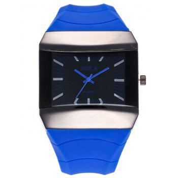 Silicone Strap Analog Square Watch - BLUE BLUE
